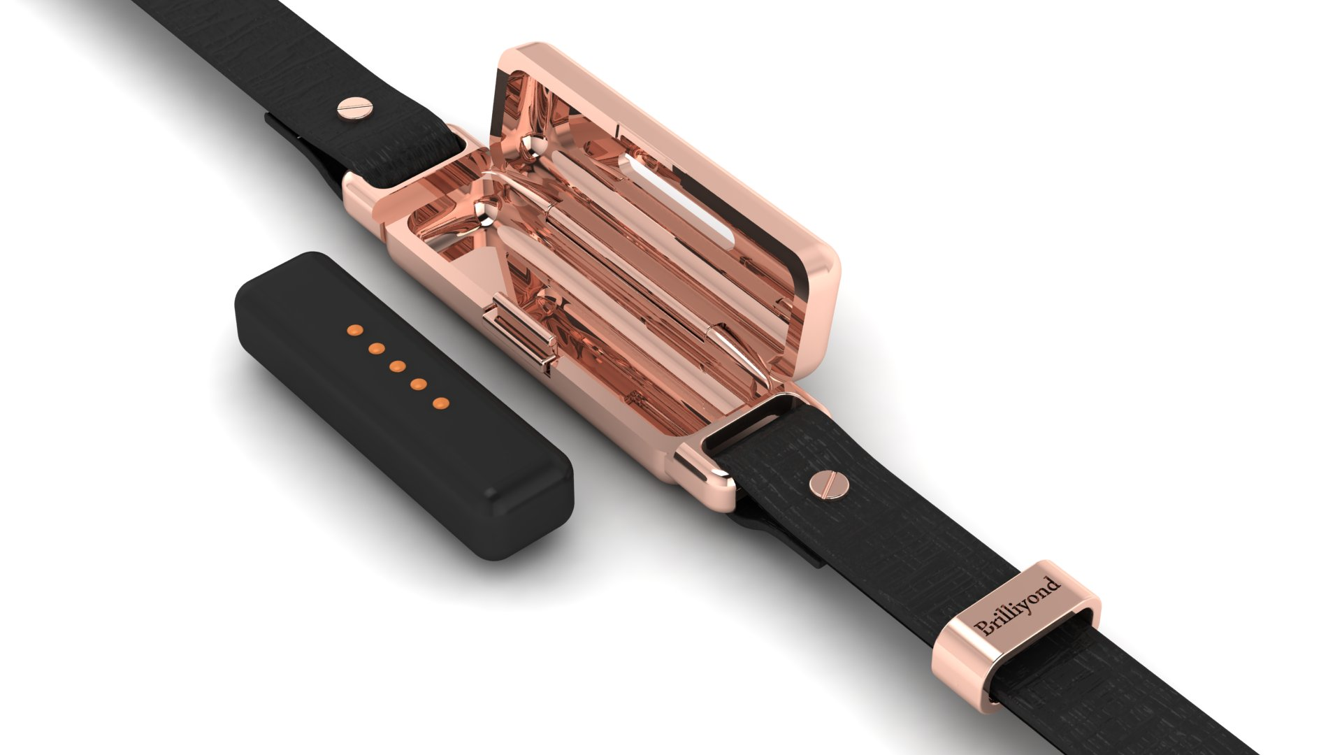 brilliyond smart fitbit bangle rose gold close look